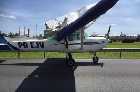 Avião faz pouso forçado na Rod. dos Bandeirantes em Jundiaí