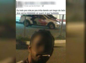 Jovem é detido após publicar selfie fumando maconha perto de viatura