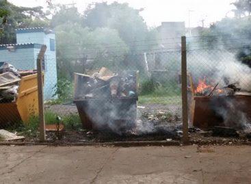 Caçambas do Eco Ponto do Jardim México ficam em chamas no domingo (26)