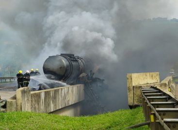 Motorista tem quase 100% corpo queimado em explosão na D. Pedro