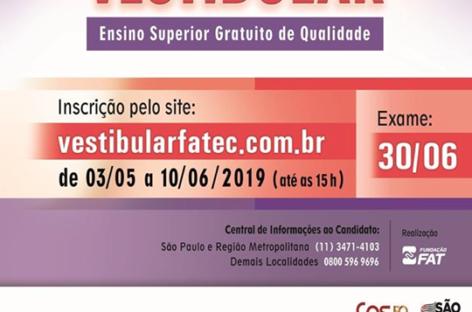 Inscrições para o Vestibular da FATEC vão até o dia 10 de junho