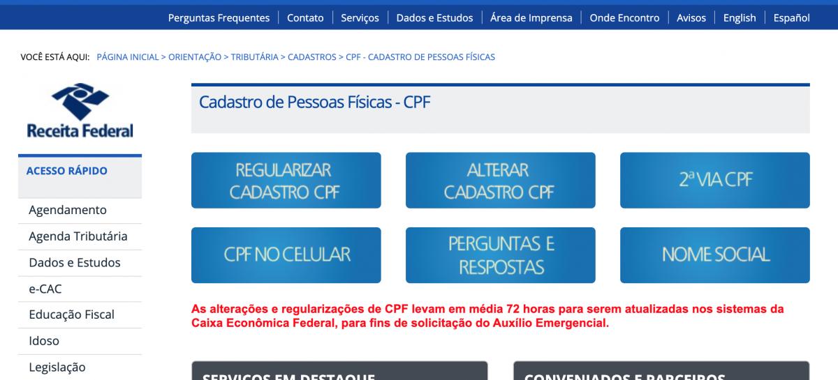 Regularização de CPF pode ser feita pelo site da Receita